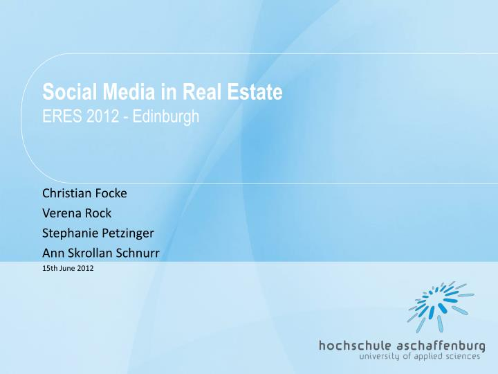 social media in real estate eres 2012 edinburgh n.