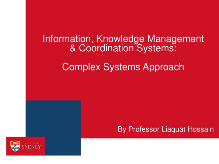 information knowledge management coordination systems complex systems approach n.