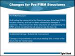 changes for pre firm structures