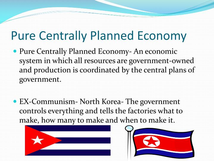 centrally planned economy A planned economy is an economic system in which economic decisions related to the allocation of resources, production, investment, and pricing are under the control of the government or some other authoritative body.