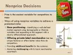 nonprice decisions
