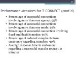 performance measures for t connect cont d