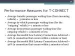 performance measures for t connect