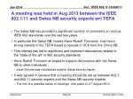 a meeting was held in aug 2013 between the ieee 802 1 11 and swiss nb security experts wrt tepa