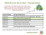 what you can do to save transportation