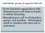 individuals groups agencies that sell
