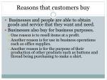 reasons that customers buy
