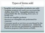 types of items sold