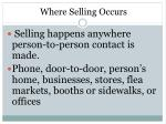 where selling occurs