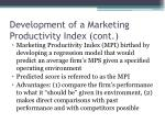 development of a marketing productivity index cont