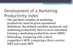 development of a marketing productivity index