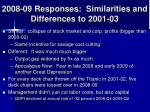 2008 09 responses similarities and differences to 2001 03