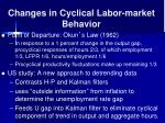 changes in cyclical labor market behavior