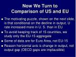now we turn to comparison of us and eu