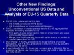 other new findings unconventional us data and analysis of eu 15 quarterly data
