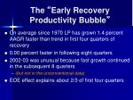 the early recovery productivity bubble