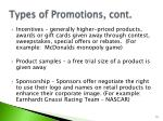 types of promotions cont