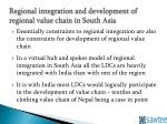 regional integration and development of regional value chain in south asia