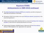 keystone stars achievements in 2009 2010 continued