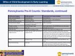 pennsylvania pre k counts standards continued