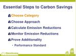 essential steps to carbon savings