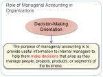 role of managerial accounting in organizations