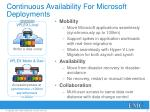 continuous availability for microsoft deployments