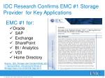 idc research confirms emc 1 storage provider for key applications