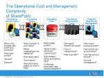 the operational cost and management complexity of sharepoint
