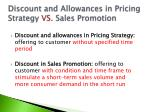 discount and allowances in pricing strategy vs sales promotion