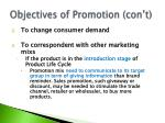 objectives of promotion con t