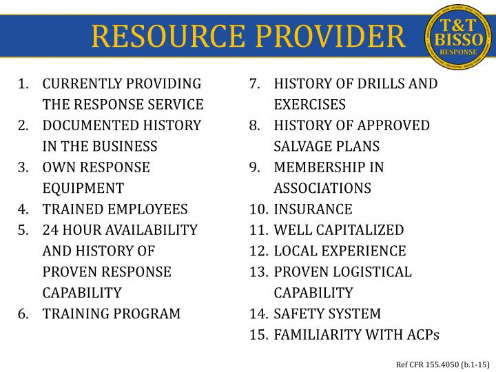 RESOURCE PROVIDER