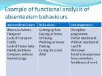 example of functional analysis of absenteeism behaviours