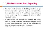 1 2 the decision to start exporting