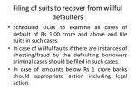 filing of suits to recover from willful defaulters