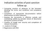 indicative activities of post sanction follow up