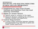 methodology identifying and selecting indicators of high and low opportunity