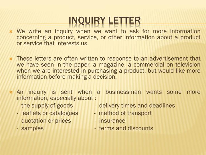 Ppt inquiry letter and response of inquiry letter powerpoint we write an inquiry when we want to ask for more information concerning a product service spiritdancerdesigns Gallery