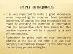 reply to inquiries