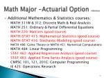 math major actuarial option reference
