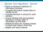 decision tree algorithms quinlan