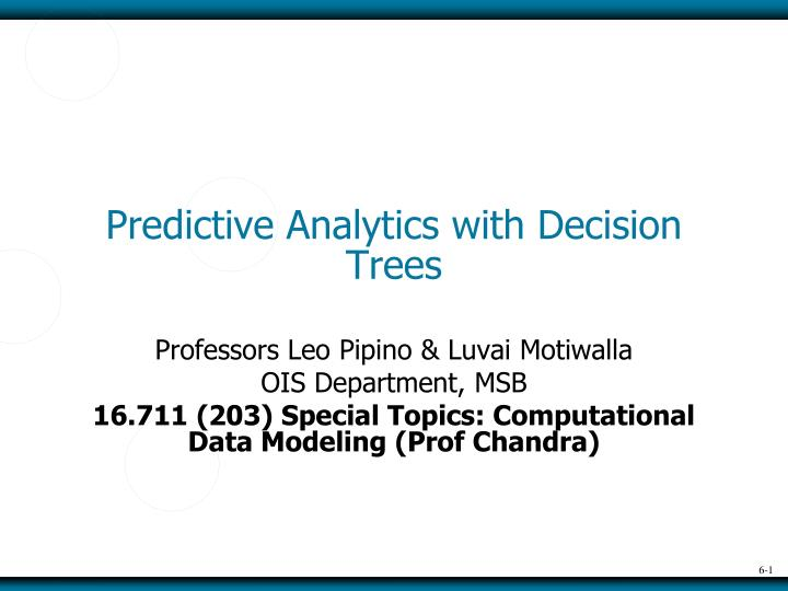predictive analytics with decision trees n.