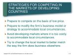 strategies for competing in the markets of developing countries