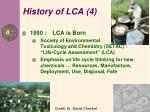 history of lca 4