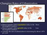 changing rates of urbanization