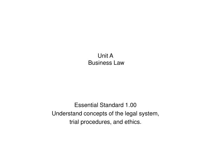 unit a business law n.
