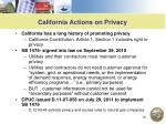 california actions on privacy