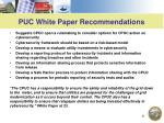 puc white paper recommendations