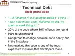technical debt error prone code