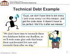 technical debt example
